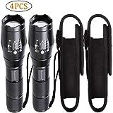 LED Taschenlampe Zoom mit Holster Set /2packs Extrem Hell 2000 Lumen Cree Led T6 Taschenlampen Klein Mini Handlampe Campinglampe Outdoor Wasserdicht