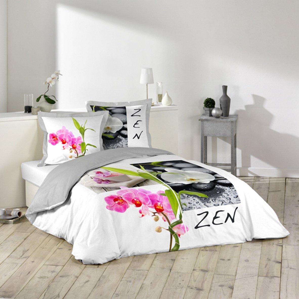 Douceur dintérieur parure de lit 2 personnes imprimé zen 220 x 240 cm amazon fr cuisine maison
