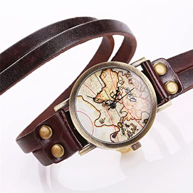 Weant women wristwatch korean velvet strap world map traveler globe weant women wristwatch korean velvet strap world map traveler globe dial retro lady watch analog quartz dress watch coffe a amazon electronics gumiabroncs Images