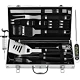 grilljoy BBQ Grill Tool Set with Gift Wrapping Box, 25pcs Stainless Steel BBQ Accessories with Heat Resistant Handle in Stora