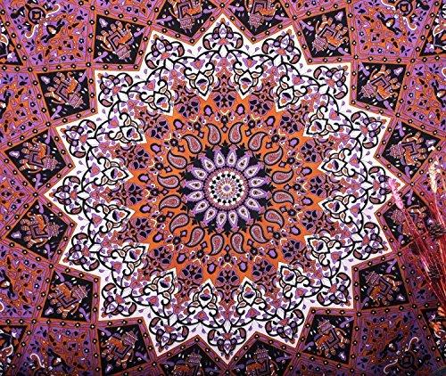 Handicrunch Hippie-Sterne-Wandteppiche, psychedelisch Tapisserie, Sonne Mond und Tapisserie, Böhmische Mandala Wandteppiche, Werfen Tagesdecke Queen Bed Dorm Decor (Sterne Und Mond Bettdecke)