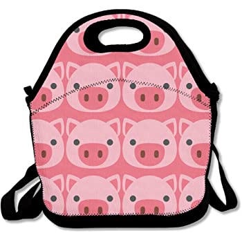 878259fbac09 ZMvise Cute Cartoon Pig Lunch Tote Insulated Reusable Picnic Lunch ...