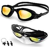 نظارات سباحة مقاومة للماء من توب سيليكت رؤية واضحة مستقطبة مضادة للضباب ومقاومة للأشعة فوق البنفسجية، إطار من السيليكون الناع