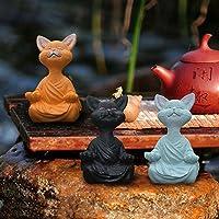 3 Stück Meditationsstatue Katze Statue Hunde-Statue Zen Yoga Hase Deko Figur Harz Meditation Yoga Decor Feng Shui…