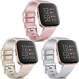 Vancle 3 Pack voor Fitbit Versa Strap/Fitbit Versa 2 Strap/Fitbit Versa Lite Strap, Klassieke TPU Siliconen Sport Verstelbare