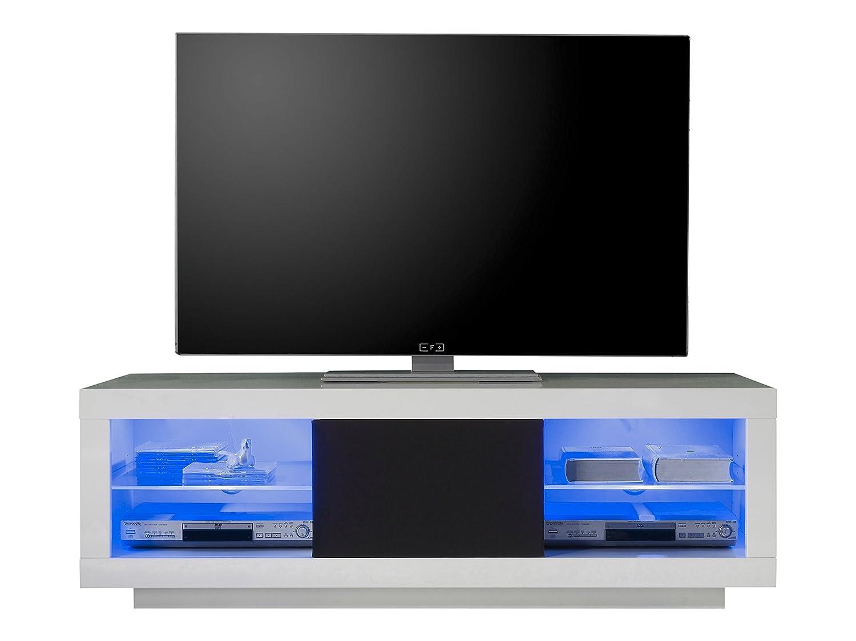 Tv lowboard schwarz glas  trendteam 31502 TV Möbel Lowboard Weiss Hochglanz, Absetzung ...