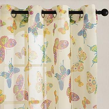 Top Finel Farbige Schmetterling Voile Gardinen Sheer Vorhang Panels Fr Kche Wohnzimmer Schlafzimmer Tllen PanelHxB 160x140 Cm Amazonde