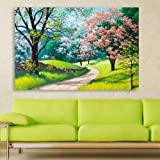 Inephos Wood Landscapes, Abstract Wall Painting , Multicolour, Modern, 85x55 cm