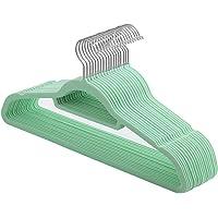 SONGMICS Suit Hangers, 20 Pack Non-Slip Velvet Hangers with Tie Organisers, 0.6 cm Thick, Space Saving, Heavy Duty, 360° Swivel Hooks, 45 cm Long, for Coats, Jackets, Aqua CRF20BU