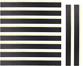 Ktc Cons Labs 10 Pcs 40 Pin 1X40 Single Row Female Pin Header Connector Strip(2.54mm Pitch), Black (10 Pieces)