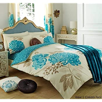 3PC KEW CREAM U0026 TEAL KING SIZE BEDDING BED DUVET COVER QUILT SET WITH  PILLOWCASES By Hachette