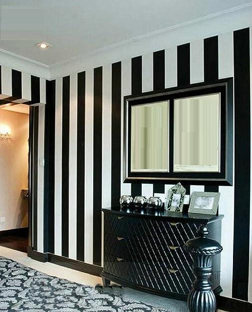 GAOJIAN Schwarze Weiße Vertikale Gestreifte Wand Aufkleber Moderne  Schlafzimmer Wohnzimmer Fernsehapparat Wand PVC Tapete Breite 0.53Cm Lange  10M ...
