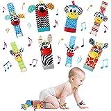 Seamuing Babysokken Pols Rammelaars Speelgoed 8 STUKS Pasgeboren Pols Rammelaar en Voetzoeker Set, Zacht Dier Rammelaar Speel