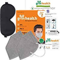 Grin Health N95 4 Layer Protective Filters (Grey: Pack of 2) with 100% Silk Sleep Mask Ultimate Sleeping Aid