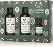 The Body Shop Tea Tree Gift Set, Simple 3-Step Routine with Tea Tree Face Wash, Toner, and Oil