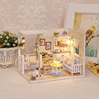 Webby Wooden Diy Nature Lover Miniature Doll House With Lights (Multicolor)