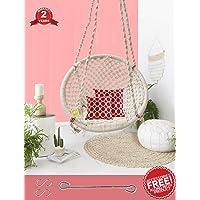 Curio Centre Make In India Round Cotton Home Swing & Hammock Chair (145 Cm X 57 Cm X 43 Cm, White, 100 kgs Capacity)