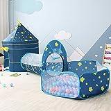 OldPAPA Barn lektält tunnel, 3 i 1 slott tält pop up crawl tunnel bollpool (ingår inte boll) inomhus bärbart lekhus för baby