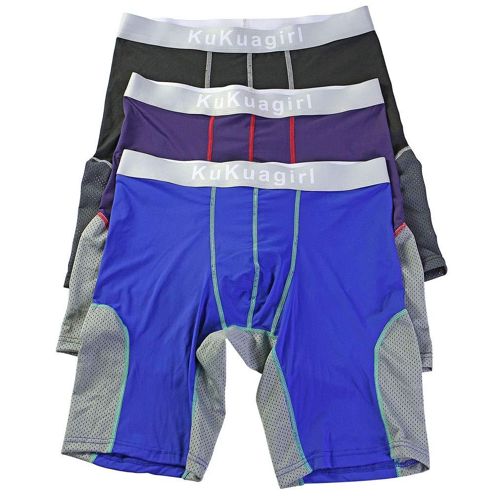 71JSt7xO0wL - Bmeigo Calzoncillos Boxer Hombre Clásico Sport Pantalones Cortos Pierna Larga Respirable Elástico Shorts Briefs Trunks Pack de 3