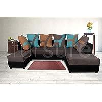 Fursure L-Shape 5 Seater Sofa Cum Bed (3 Seater + 2 Seater + 2 Puffy) Pack (Grey & Black)