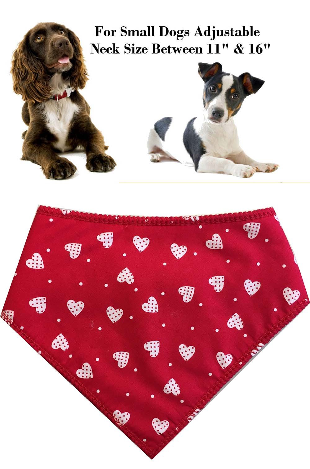 Spoilt Rotten Pets (S2) Branded Red & White Hearts, Adjustable Neck to Fit Small To Medium Dogs – Neck Size 11″ – 16″ Generally Fits Cocker Spaniel, Border Terrier, Jack Russell, Westies and Shih Tzu Sized Dogs. by Spoilt Rotten Pets