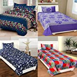 AS Handloom Combo Glace Cotton Floral Printed King Size Double 4 Bedsheet with 8 Pillow Covers (combo04)