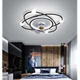 YUNZI Ventilateur Plafond avec Lumiere Et Telecommand, Ventilateur Silencieux Plafond 30M2, Plafonnier Ventilateur Design Pla