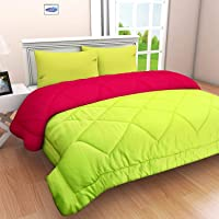 Neat Stuff Products Ultra Soft Reversible Cotton King Size Duvet/Comforter for Winter(300Gsm) (Pink & Green, Double Bed…