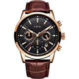 LIGE Mens Watches Fashion Waterproof Sports Chronograph Analogue Quartz Stainless Steel Dial Leather Bracelet Wristwatch…