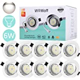 Wowatt 10 X Led Spots Encastrables Blanc 6W Equivaut 50W Ampoule Halogène Spot gu10 LED Encastré Blanc Froid 6000k Plafonnier