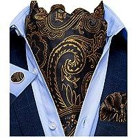 DiBanGu Cravat Mens Cravat Self Tie Jacquard Tessuto Paisley Ascot Tie e Pocket Gemelli Quadrati Set Formale Casual