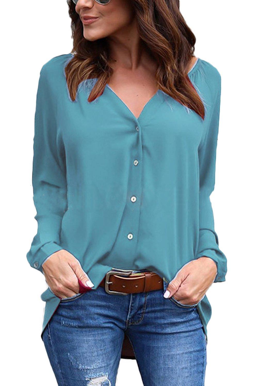 ... Chiffon Camicia Donna Signora OL Elegante Maniche Lunghe Bluse Maglia  Casual Shirt Sexy V Scollo Tops Primavera Magliette. 🔍. Abbigliamento ... 4b50cab51ff
