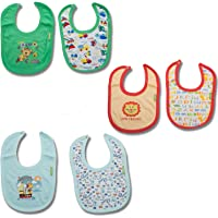 Baybee Baby Cotton Bibs Apron for Infants, Multicolor Baby Printed Bibs for Feeding Kids and Toddlers, Washable Age 6 Month to 2 Years - Unisex (Pack of 6)