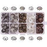 PandaHall 1 Scatola Circa 525pcs 5 Colori Tappi di Perline coppette copriperla per bigiotteria di Ferro Filigrana Fiore Bead