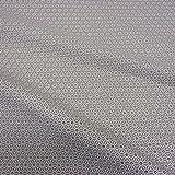 Tissu en coton au mètre, gris blanc, motif graphique japonais Asanoha (fleur de...