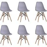 BenyLed Lot de 6 Chaises de Salle à Manger Contemporaines en Plastique Design Rétro Chaise D'appoint pour Salle à Manger, Cui