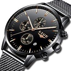 FOVICN Herren-Armbanduhr Sport Chronograph Analoges Quarzwerk mit Edelstahlarmband Business Fashion Wasserdicht Uhren Herren Uhr