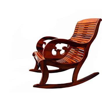 Santosha Decor Solid Sheesham Wood Pre Assemble Curve Hand Rocking Chair/Adult Chair/Relax Chair/Living Room Chair/Swing Chair/Garden and Outdoor Chair - Teak Finish with PU Polish
