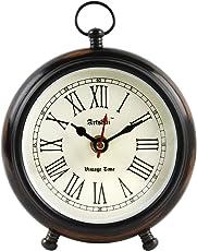 Artshai Wood Antique Look Round Table Clock (Brown)