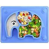 Babytallrik, söt elefantform, avvänjning, bordstablett med sugproppar, passar de flesta barnstolar, 19,5x25,5x2,5cm (blå