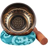 Tibetische Klangschale Set,Klangschalen Set 9.5cm Traditionelle Klangschale mit Holzstreicher und handgenähtem Kissen für Meditation Chakra Heilung Gebet,Yoga und Heilung