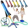 Rakete Spielzeug, Druckluftrakete, Raketentwerfer Outdoor Spiele für Kinder mit 6 Schaumstoff Raketen, Garten Spielzeug, Kind