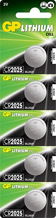 Gp Batteries Cr2025 2025 Boy Lityum Düğme Pil, 3 Volt, 5'Li Kart