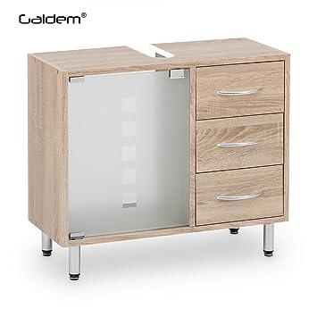Waschtischplatte mit schublade gäste wc  Amazon.de: Galdem Waschbeckenunterschrank mit 3 Schubladen Glastür ...