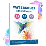 Akvarellpapper 300 g DIN A4 vit 30 ark akvarellpapper för akvarellfärger
