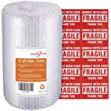 Offitecture Bubble Cushioning Wrap Roll, 300mm x 11m, Small Air Bubble and Perforated Every 300mm, 10 Fragile Stickers…
