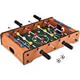 Brand Conquer Table- Portable Fully Wooden Mini Table Football / Soccer Game Set with Two Balls and Score Keeper for…