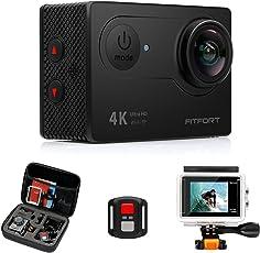 KAMTRON 4K Action Kamera Sport Actioncam Wasserdicht - Helmkamera mit 2.4G Fernbedienung WiFi Ultra HD 12MP 170°Weitwinkel 2 Wieder Aufladbare 1050mAh Akkus 19 teiliges Zubehör Kit