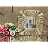 SATYAM KRAFT Fiber Wall Mirror (25 × 25 cm, Gold)