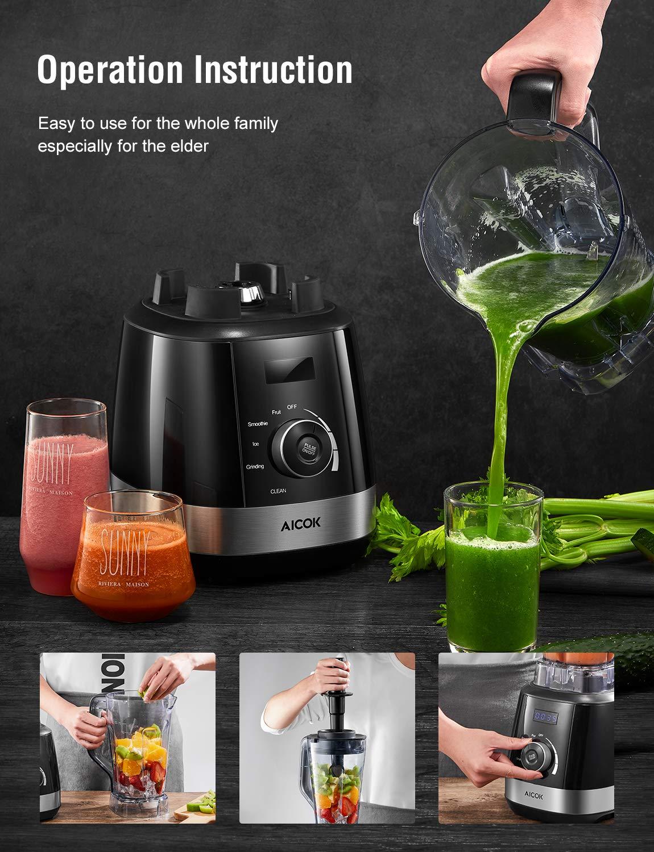 AICOK-Standmixer-Smoothie-Maker-1500-Watt-Mixer-Hochleistungsmixer-mit-Reinigungsfunktion-6-Edelstahl-Klingen-2-Liter-30000-Umin-Tritan-Behlter-ohne-BPA-Energieklasse-A